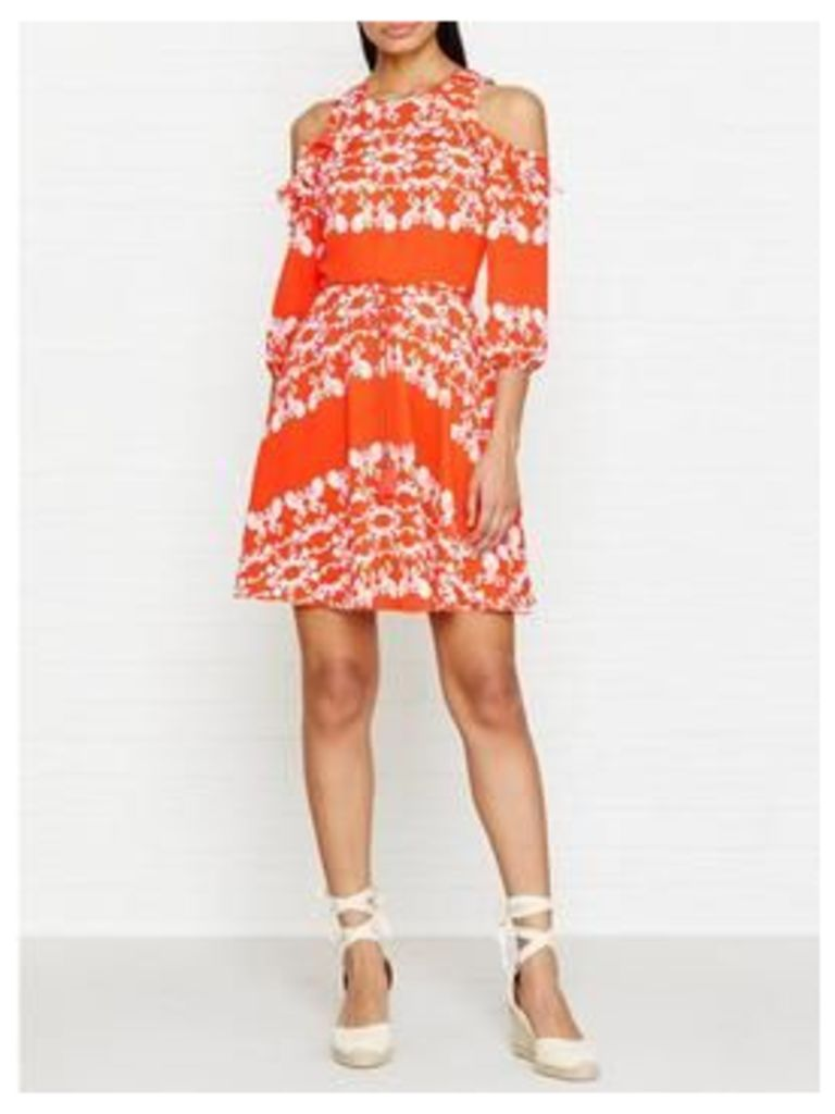 Whistles Aldora Trailing Floral Drop Shoulder Dress - Orange