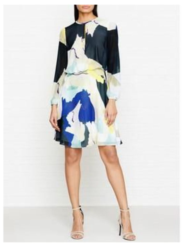 Reiss Neave Long Sleeve Printed Dress - Blue