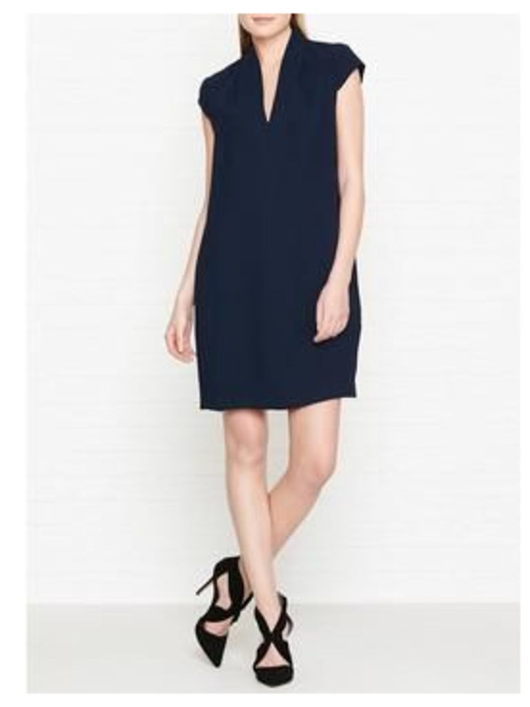 Whistles Paige V Neck Dress - Navy