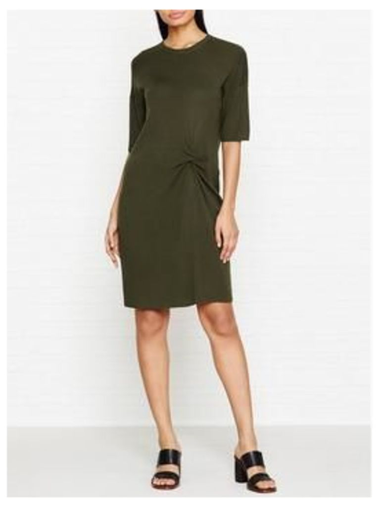 Whistles Knot Front Knitted Dress - Khaki