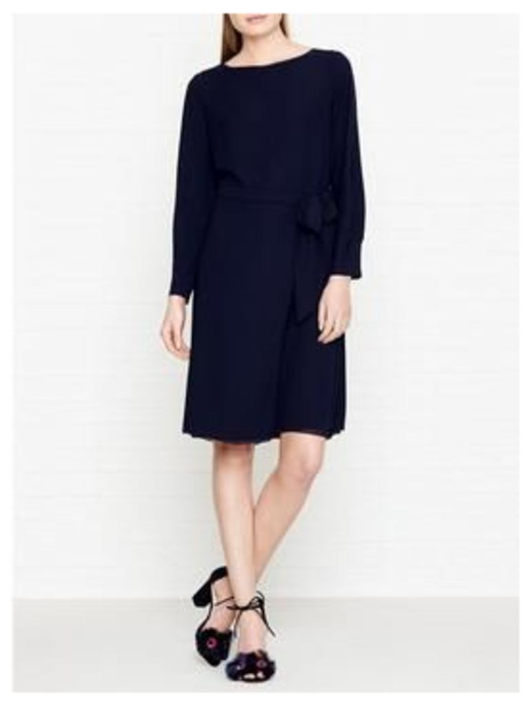 Reiss Primrose Long Sleeve Tie Waist Dress - Navy
