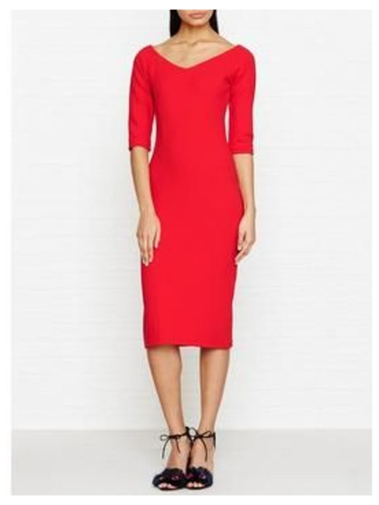 Reiss Aimee Jersey Off The Shoulder Dress - Red