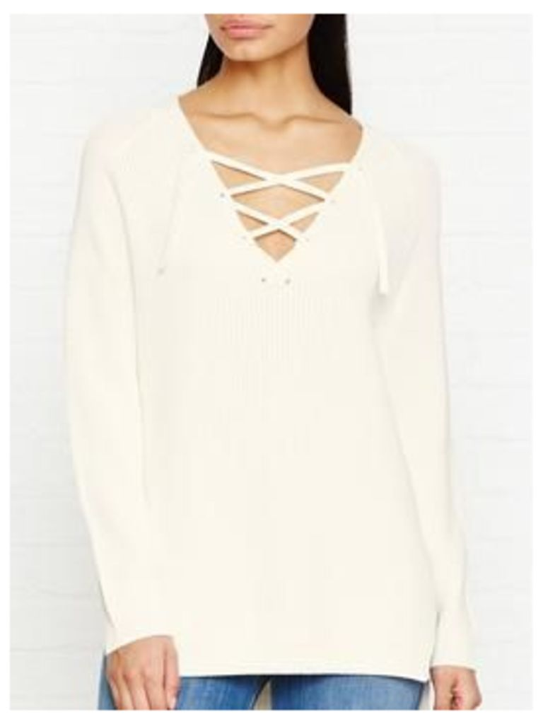 Whistles Slouchy Tie Neck Ribbed Jumper - Ivory