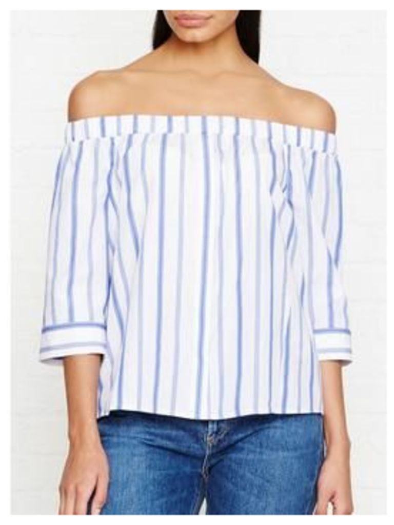 Whistles Sarah Stripe Bardot Top - Blue
