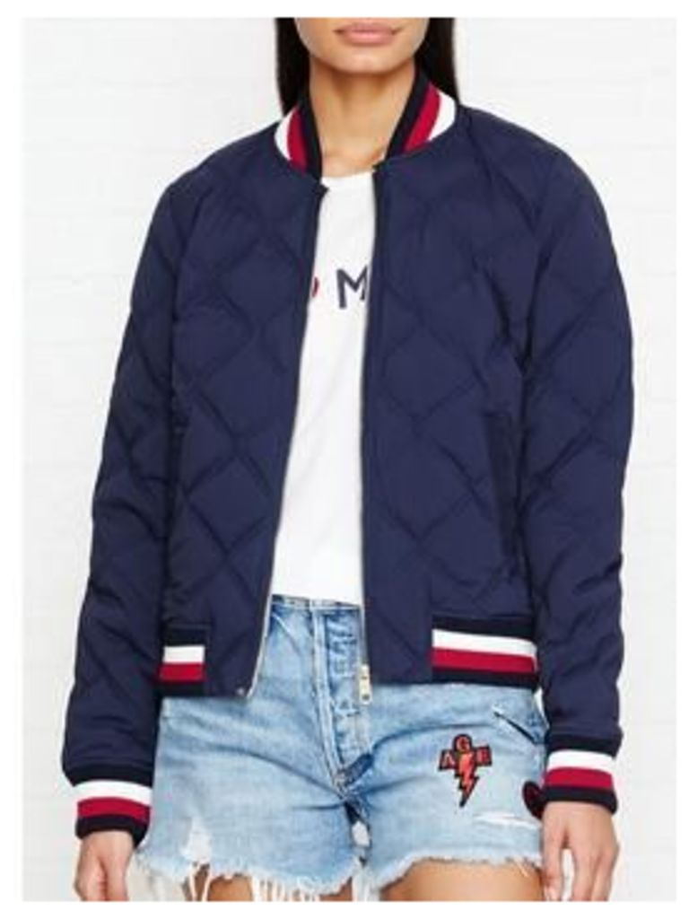 Tommy Hilfiger Blake Stretch Down Quilted Bomber Jacket - Navy