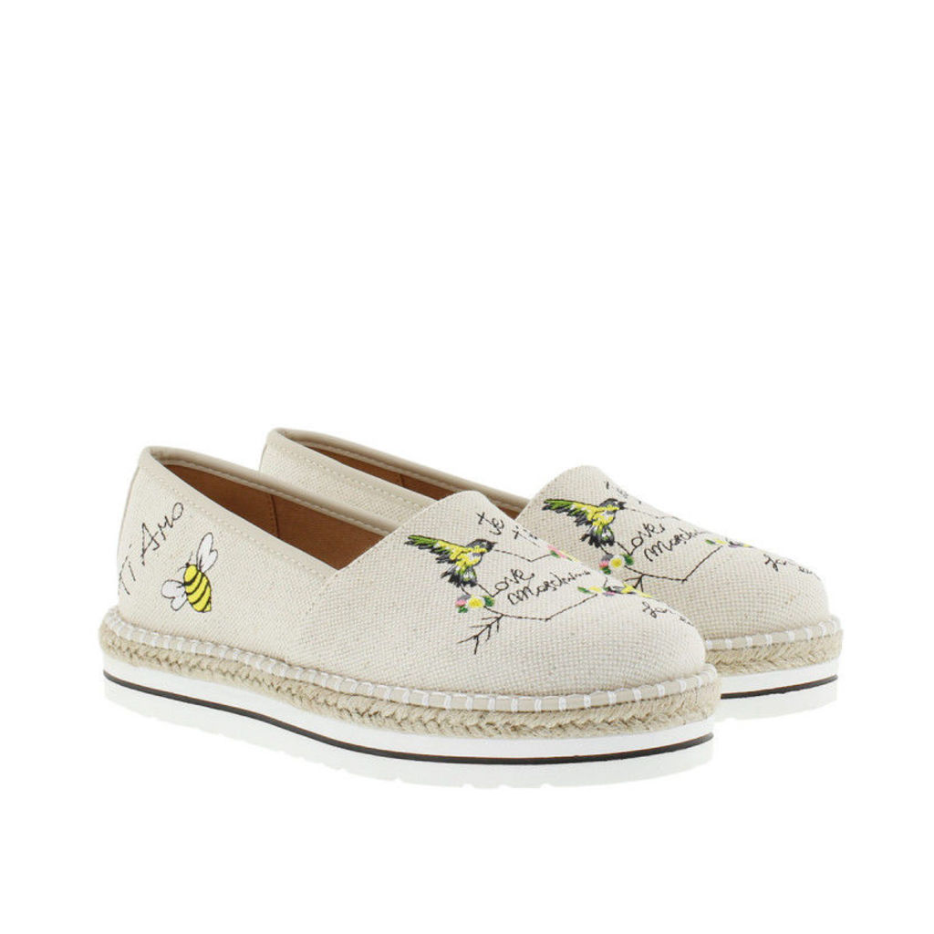 Love Moschino Espadrilles - Embroidered Canvas Espadrilles Natural/Ricamo - in beige - Espadrilles for ladies