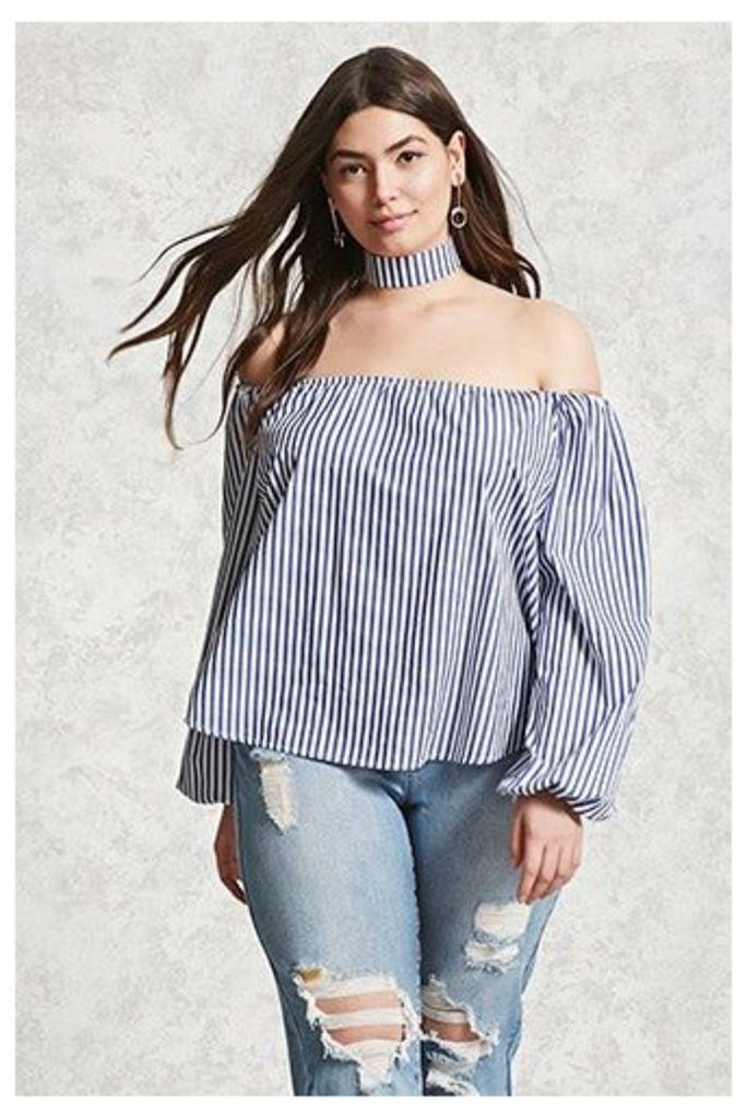 Plus Size Stripe Choker Top
