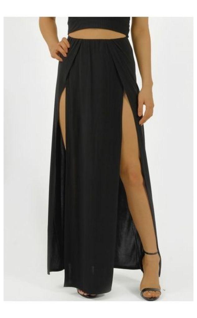 Tama Double Split Slinky Maxi Skirt