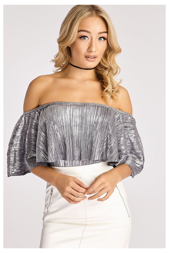 Silver Bodysuits - Tyrah Silver Metallic Pleated Off Shoulder Bodysuit