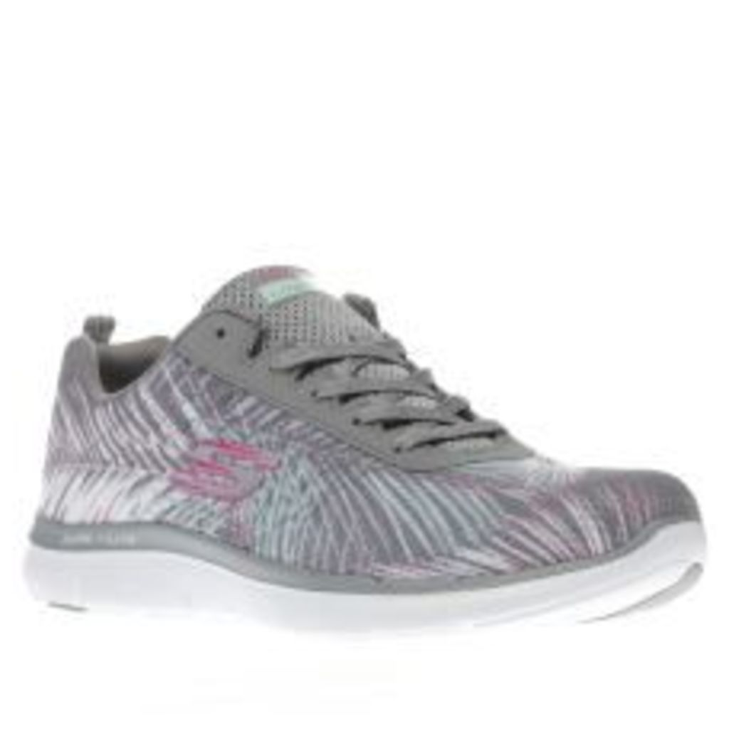 Skechers Grey Flex Appeal 2.0 Tropical Womens Trainers
