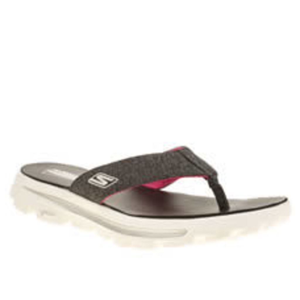Skechers Black & White Go Walk Move Solstice Womens Sandals