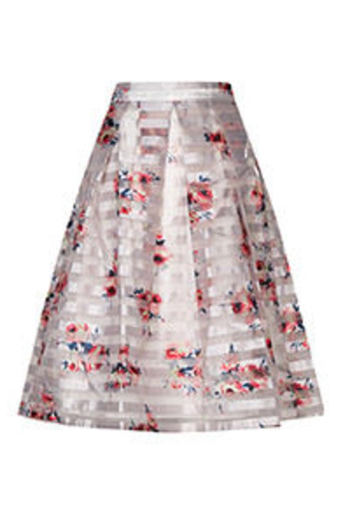 White & Pink Blossom Print Midi Skirt