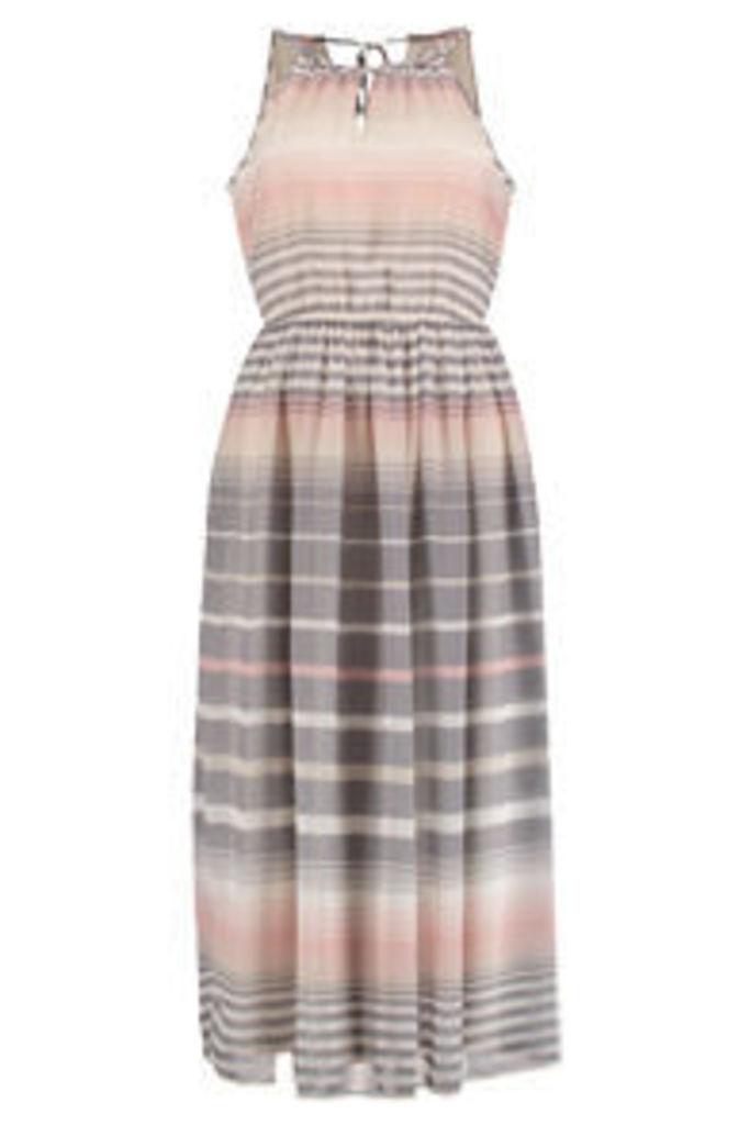 Pink Stone & White Ombre Stripe Print Midi Dress