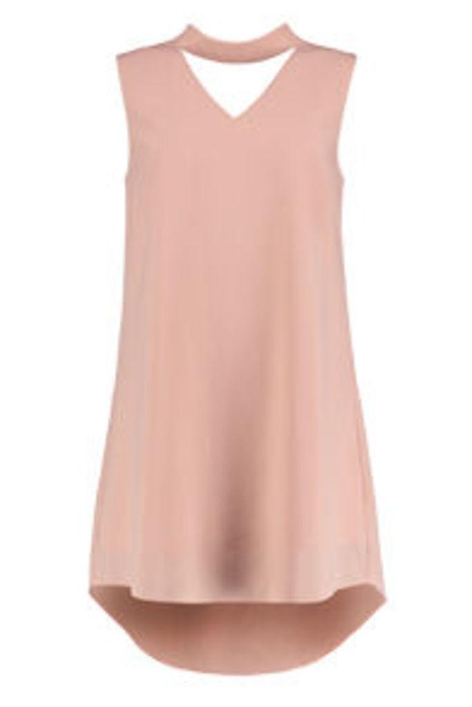 Pink Choker Neck Shift Dress