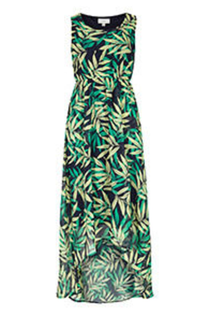 Navy Yellow & Green Tropical Print Midi Dress