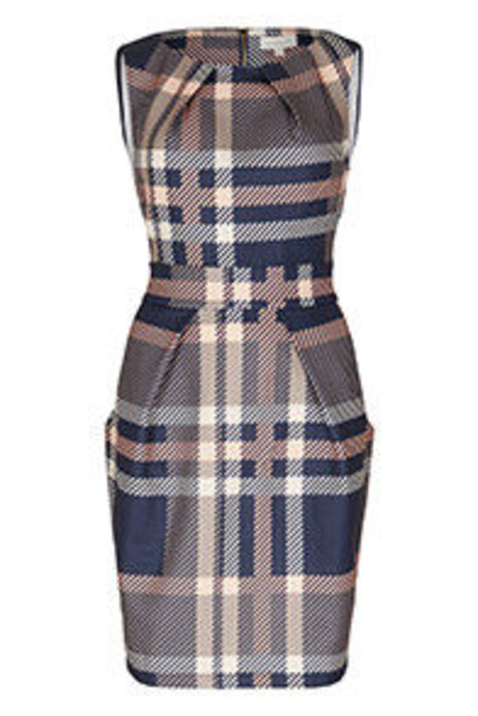 Navy Pink Stone & White Brushed Check Print Structured Dress