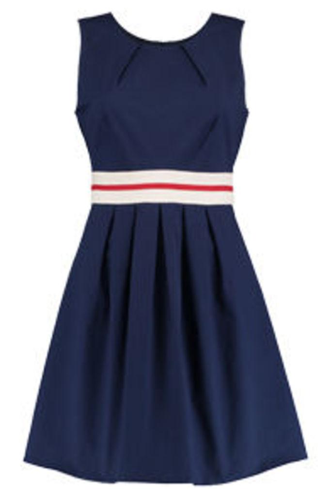 Navy Cream & Red Colour Block Skater Dress