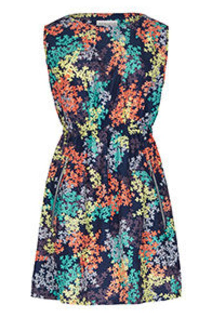 Navy Coral Yellow & Aqua Blossom Print Tea Dress