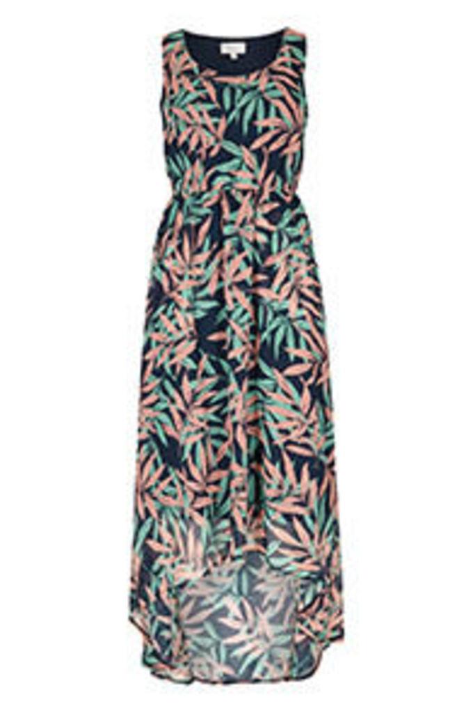Navy Coral & Aqua Tropical Print Midi Dress