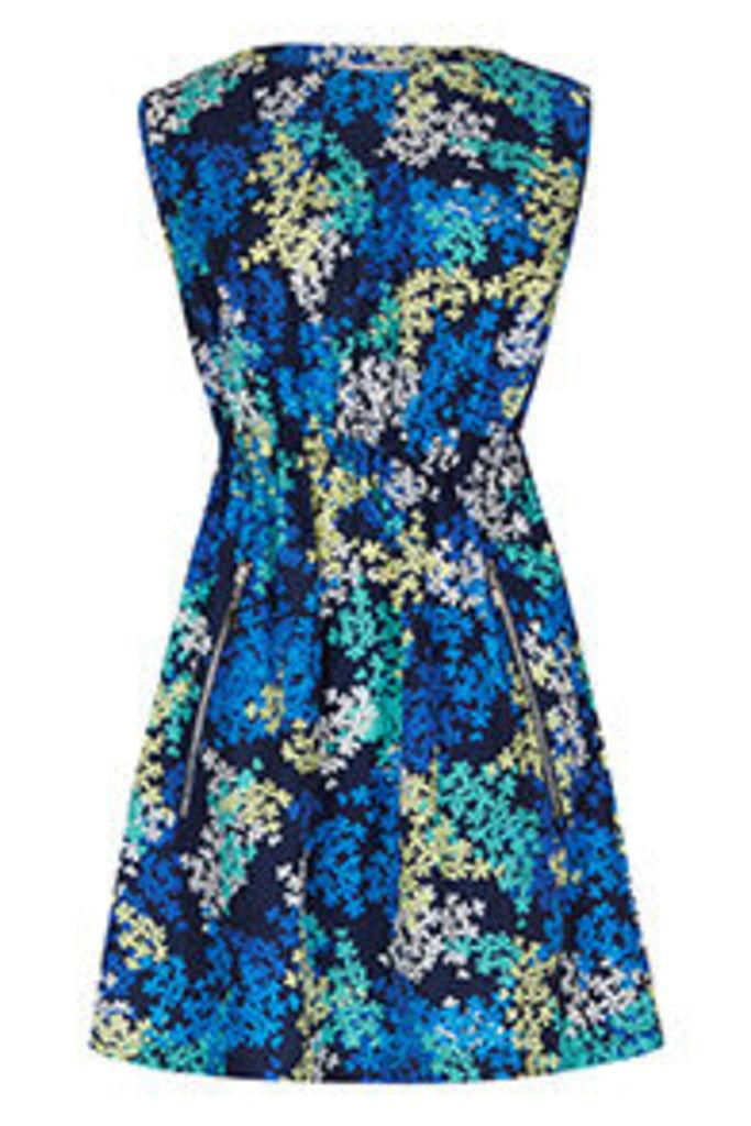 Navy Blue Yellow & Aqua Blossom Print Tea Dress