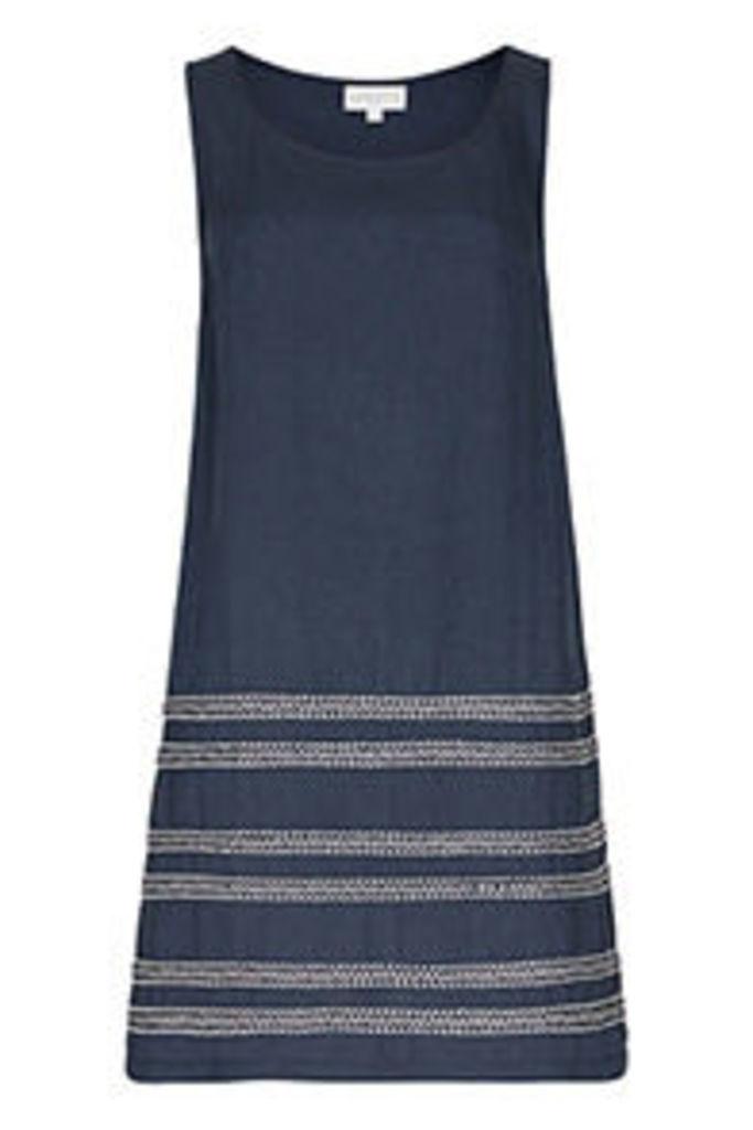 Navy & White Embroidered Stripes Shift Dress