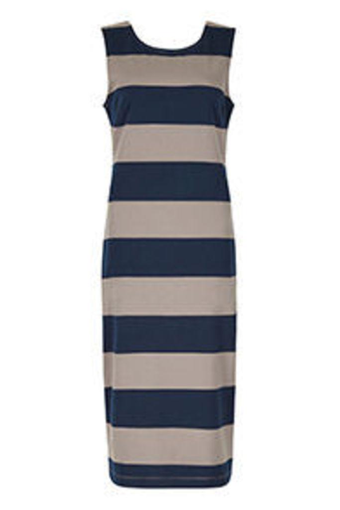 Navy & Stone Stripe Print Bodycon Dress