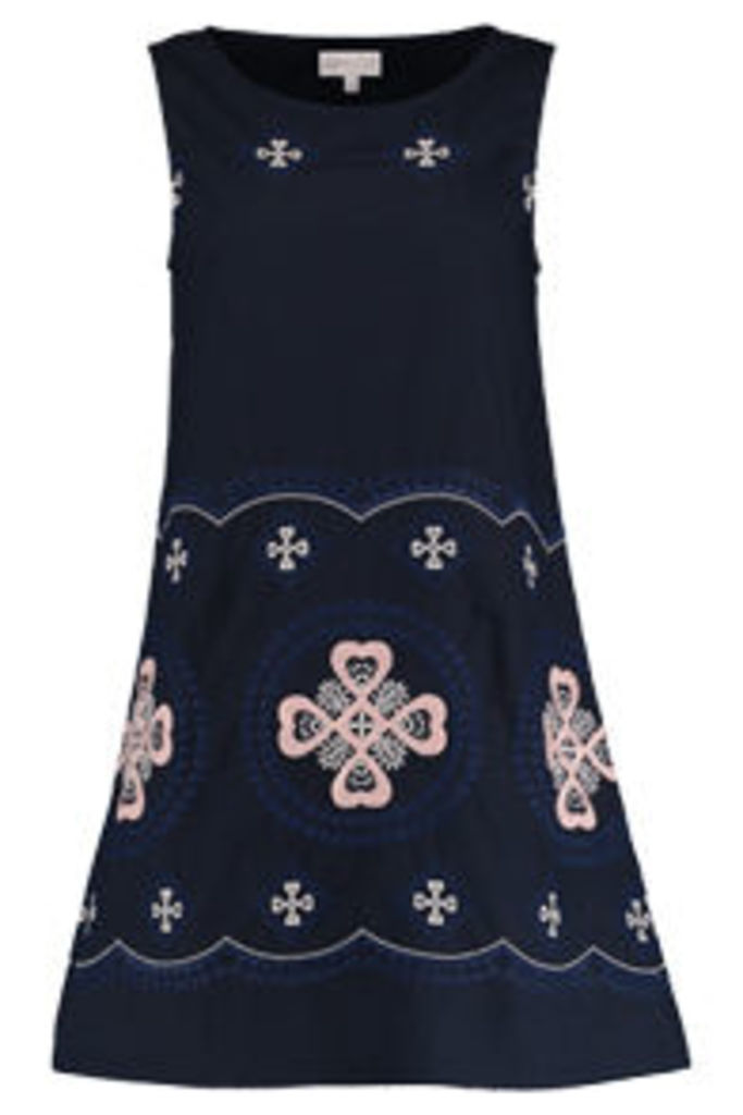 Navy & Pink Embroidered Heart Crosses Shift Dress