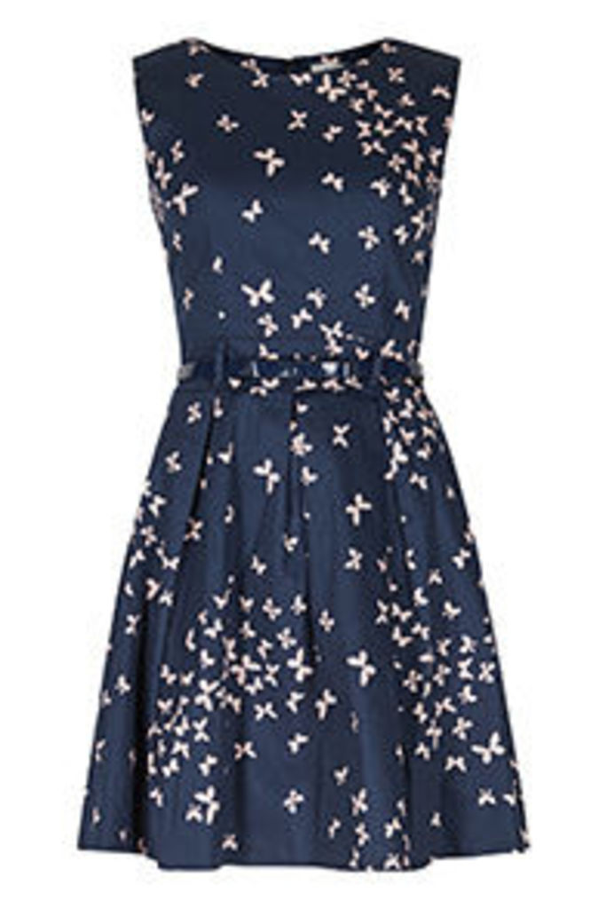 Navy & Pink Butterfly Print Structured Dress