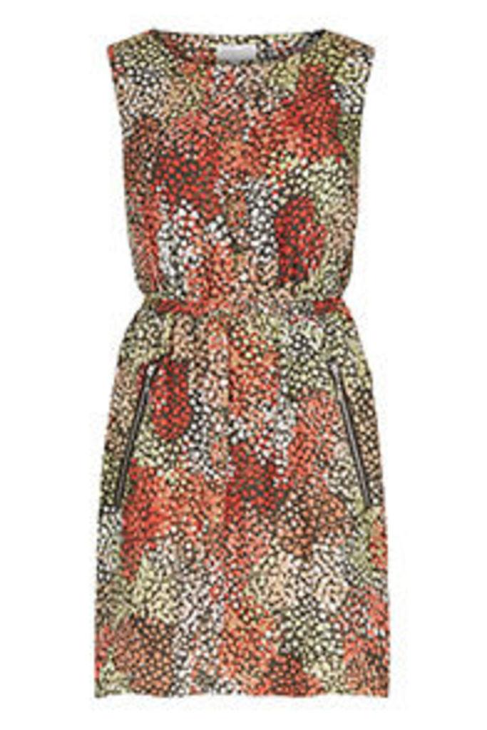 Multi-Coloured Layered Hearts Print Tea Dress