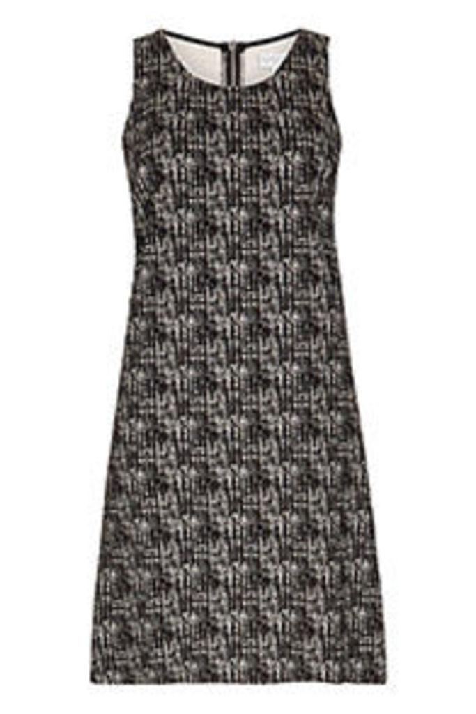Monochrome Textured Print Shift Dress