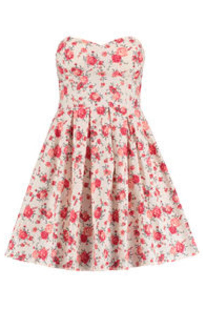 Cream Pink & Red Rose Print Bandeau Skater Dress