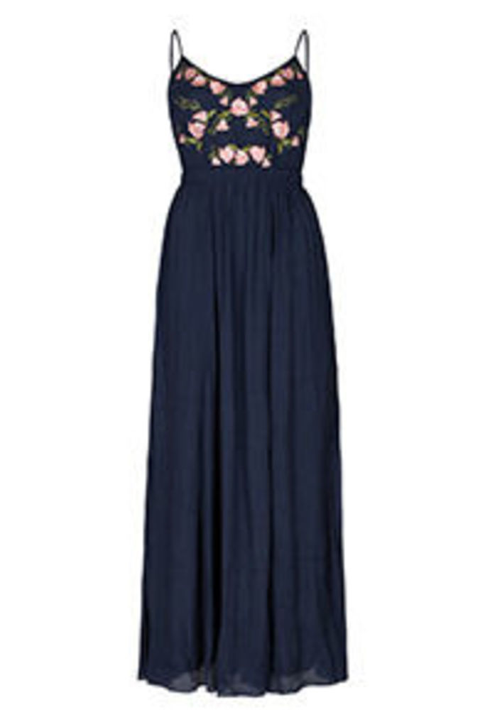 Blue Denim Look Embroidered Roses Maxi Dress