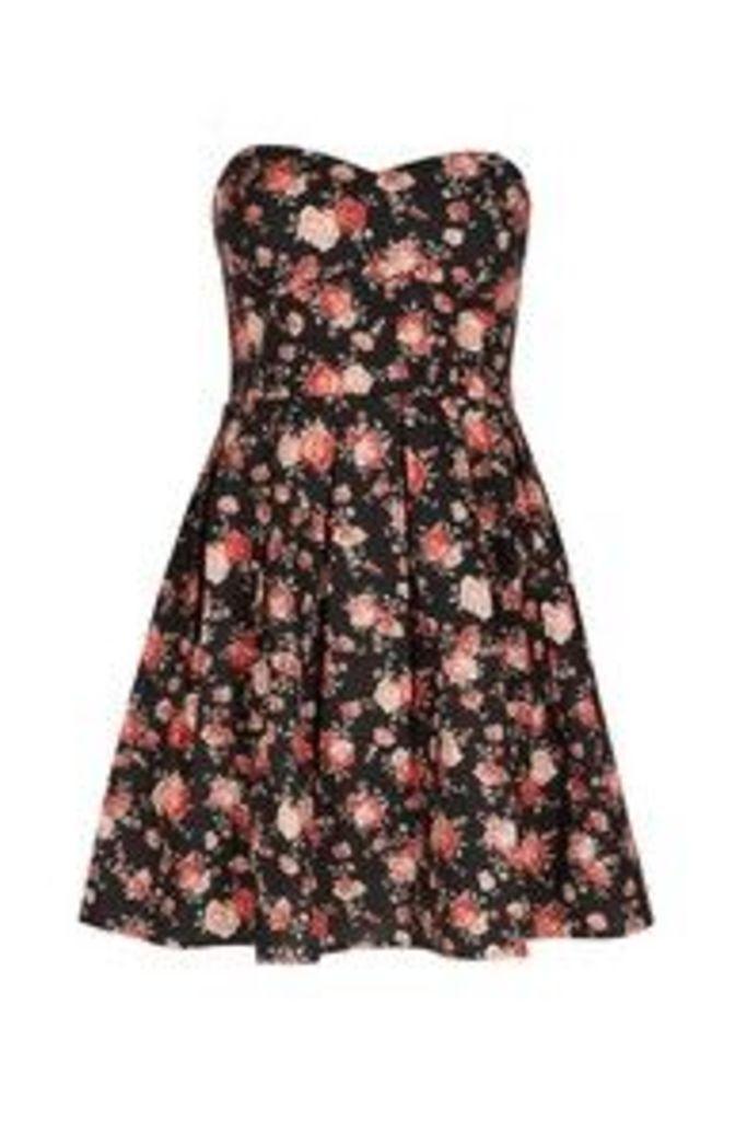 Black Pink & Red Rose Print Bandeau Skater Dress