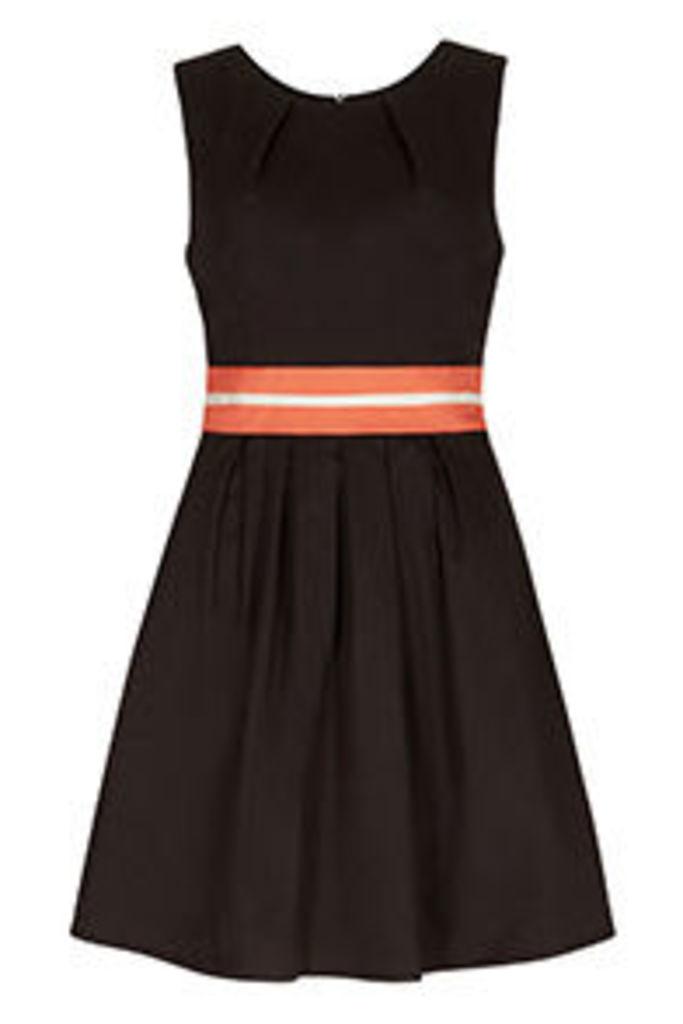 Black Coral & Cream Colour Block Skater Dress
