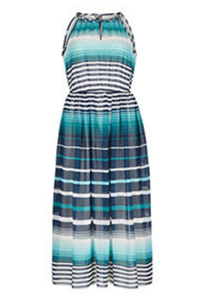 Aqua Navy & White Ombre Stripe Print Midi Dress