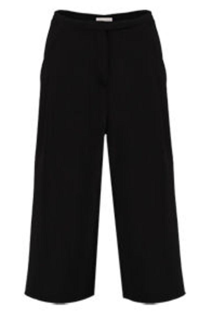 Black High Waist Cropped Culottes
