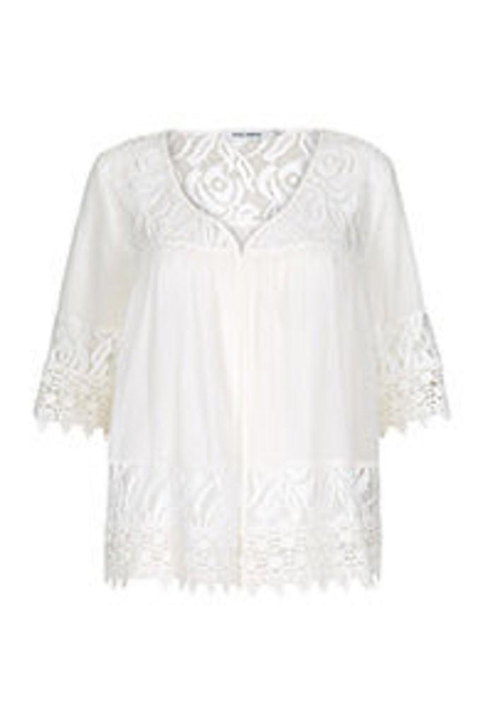 White Semi Sheer Lace Panels Kimono