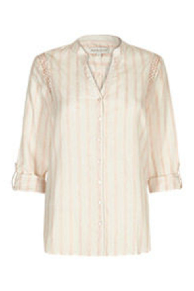 White & Pink Stripe Print Embroidered Shirt