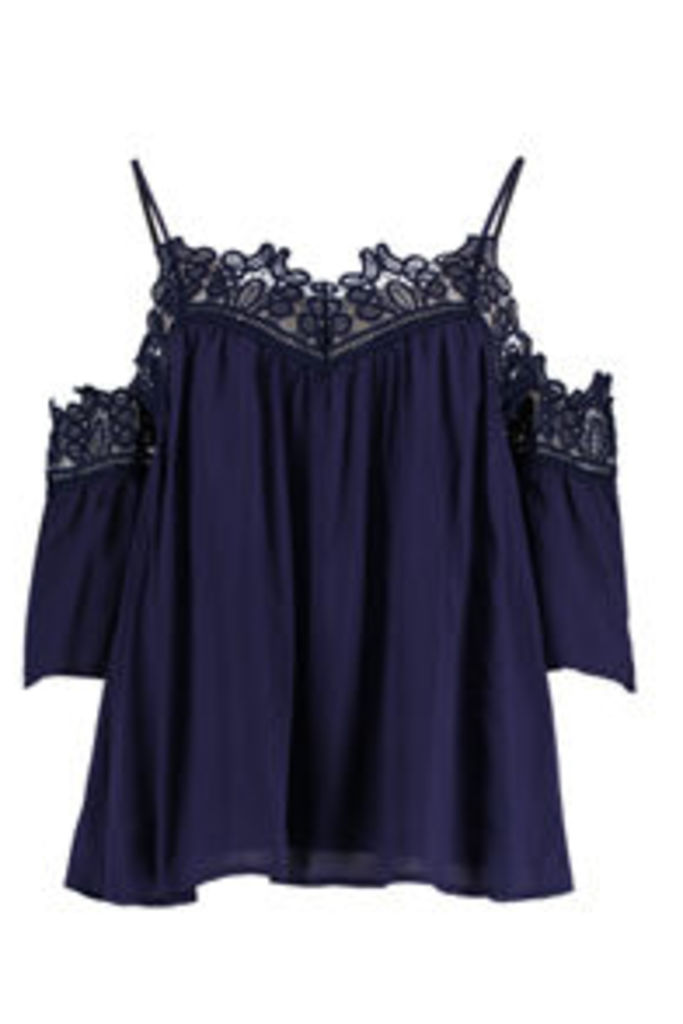 Navy Lace Cold Shoulder Swing Top