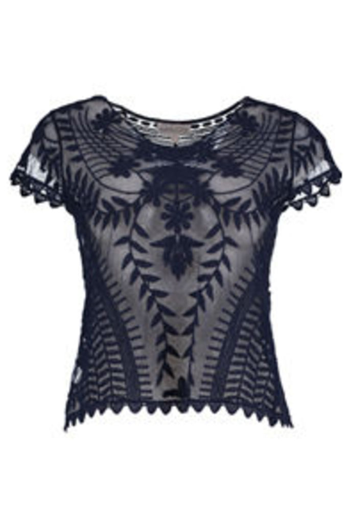 Navy Embroidered Floral & Vine Pattern Mesh T-Shirt