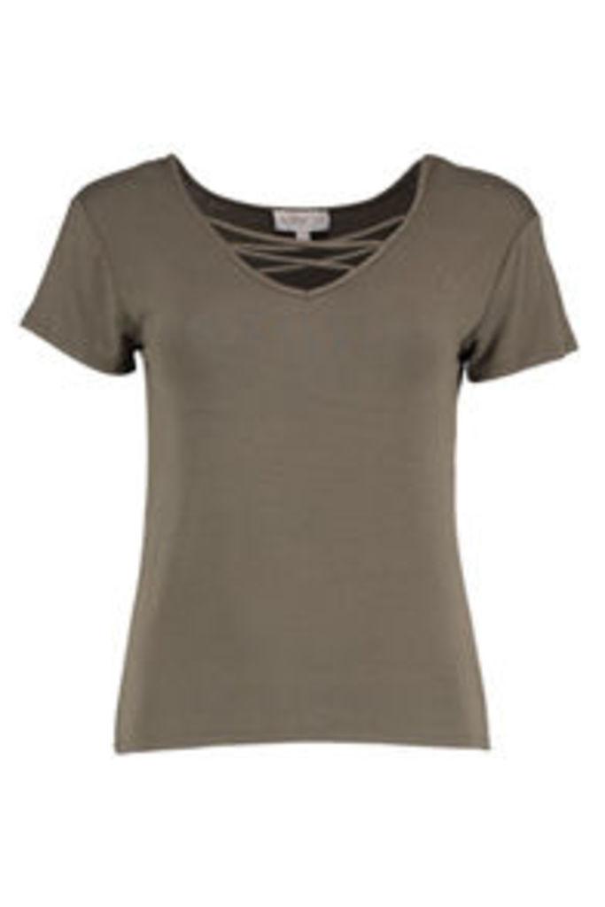 Khaki Lattice Chest T-Shirt
