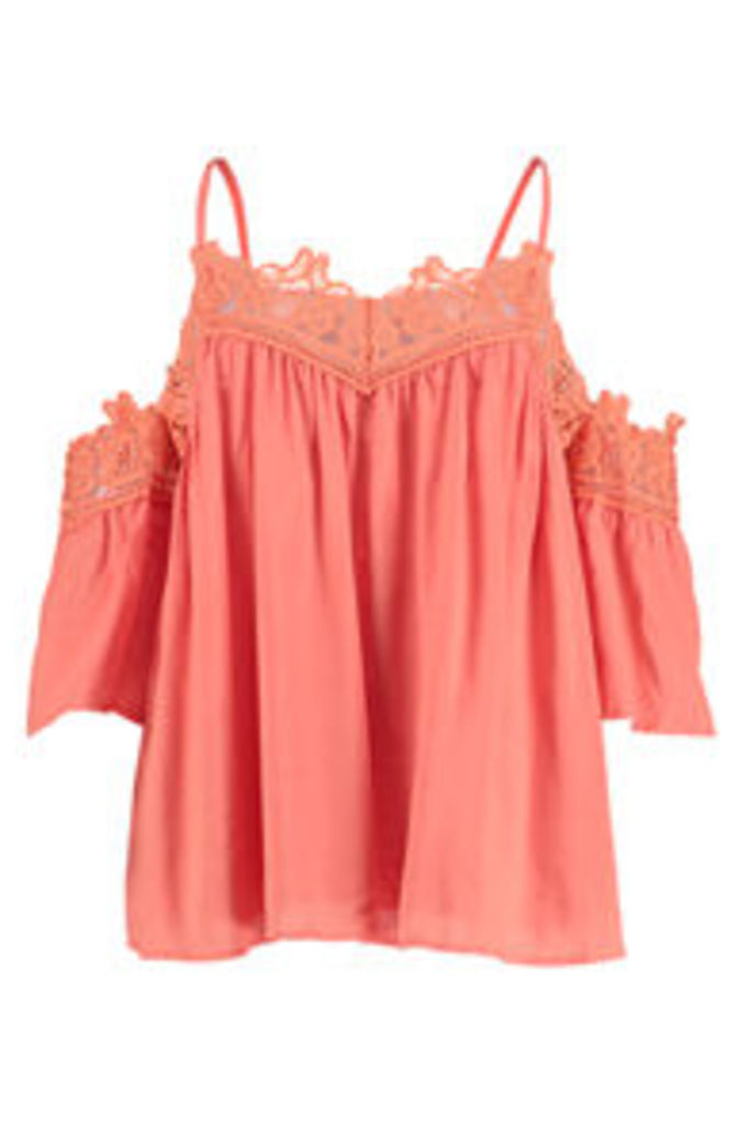 Coral Lace Cold Shoulder Swing Top