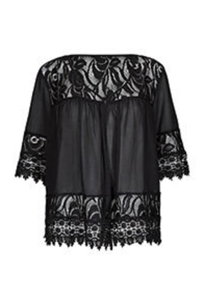 Black Semi Sheer Lace Panels Kimono