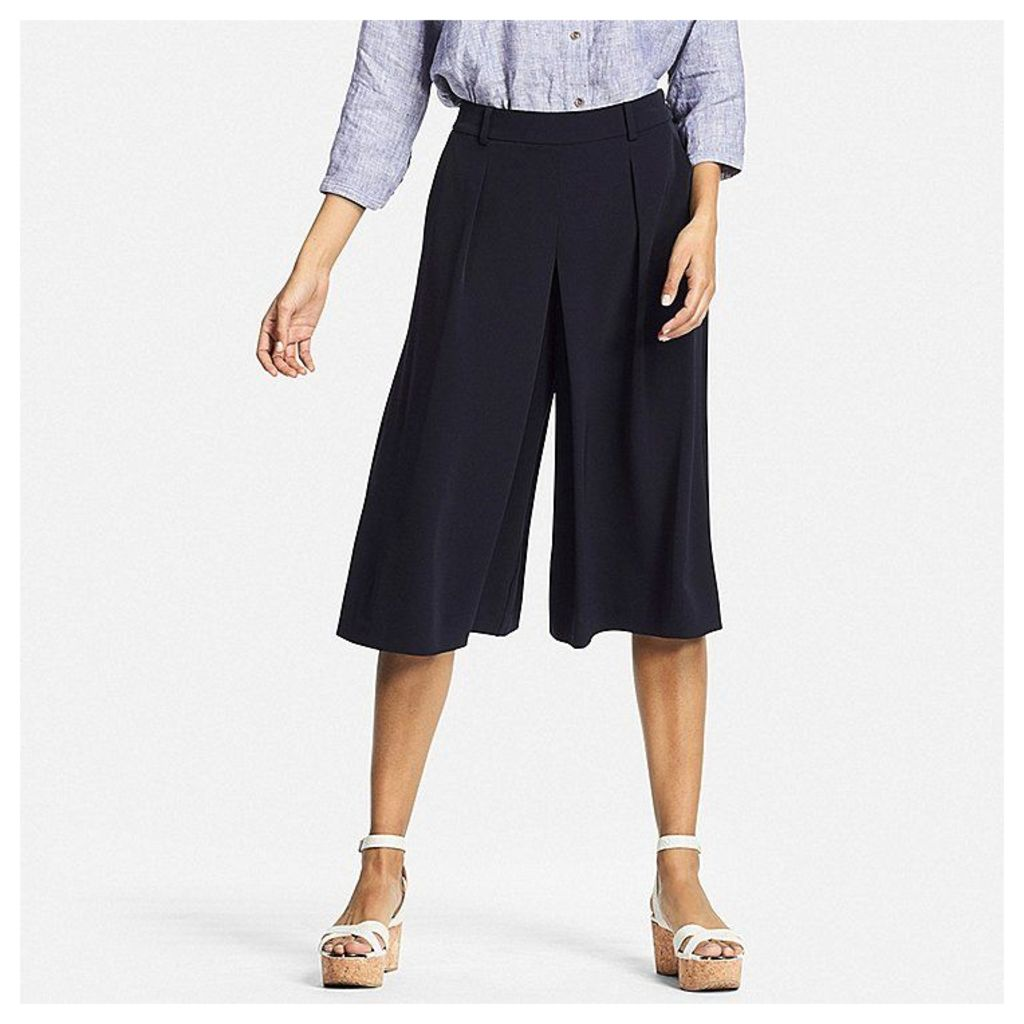 Uniqlo  Women Easy Care Drape Gaucho Trousers - Navy - Xl