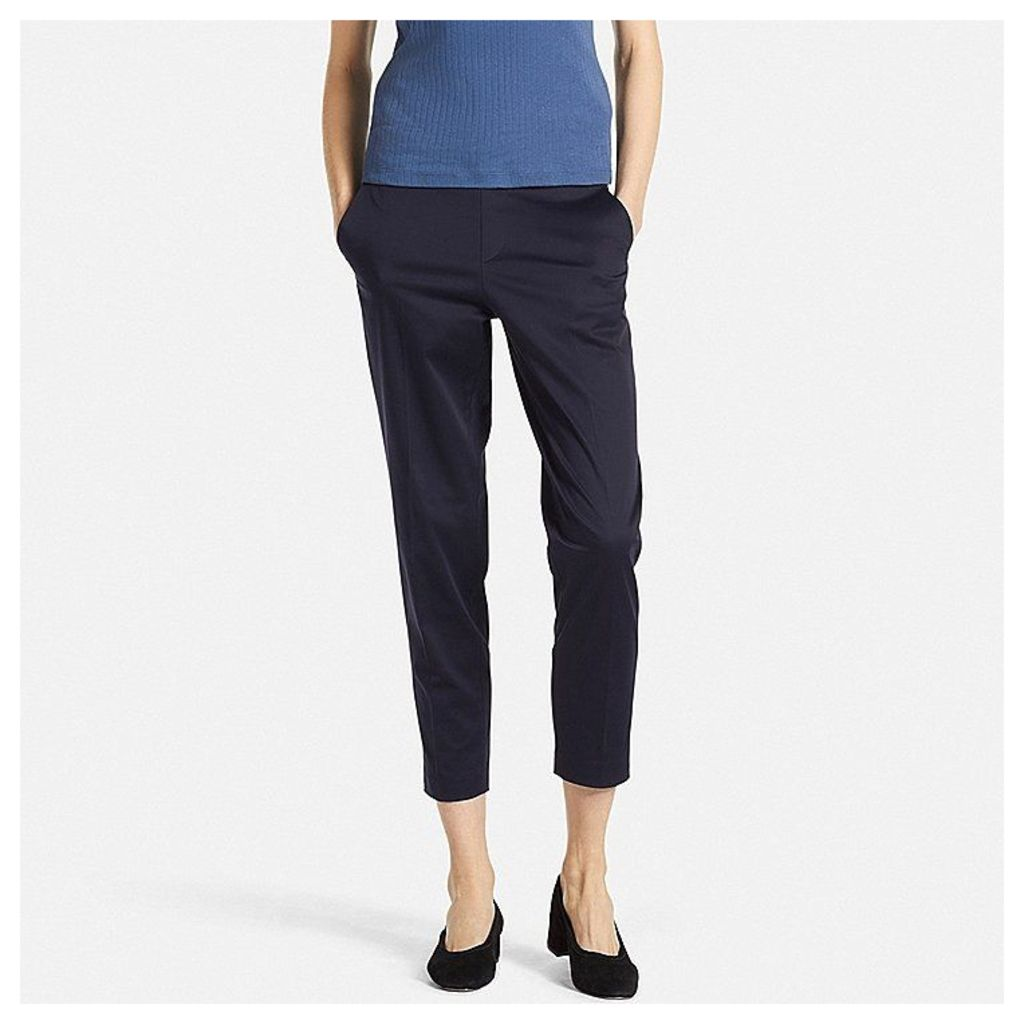 Uniqlo  Women Satin Touch Ankle Length Trousers - Navy - Xxl