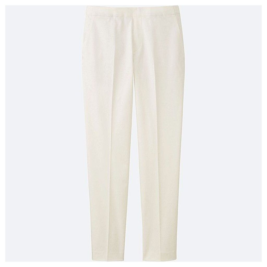 Uniqlo  Women Satin Touch Ankle Length Trousers - White - Xl