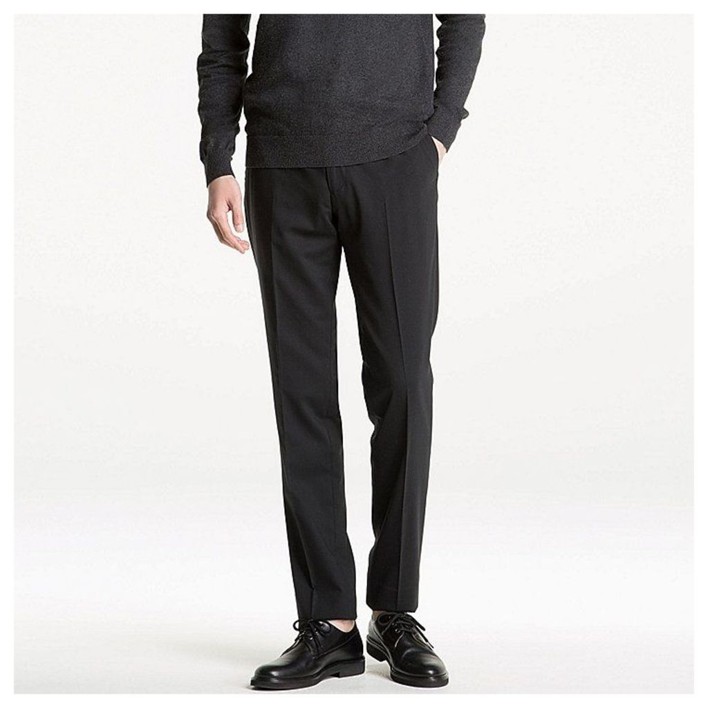 Uniqlo  Men Stretch Wool Slim Fit Flat Front Pants - Black - 36inch