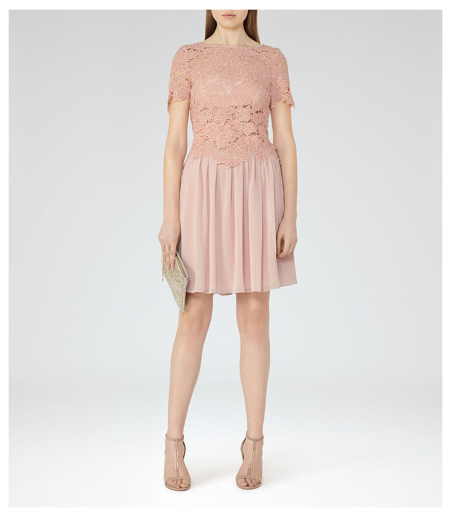REISS Milla - Womens Lace-top Dress in Red