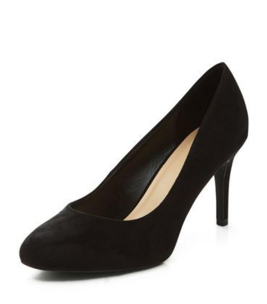 Black Suedette Court Shoes