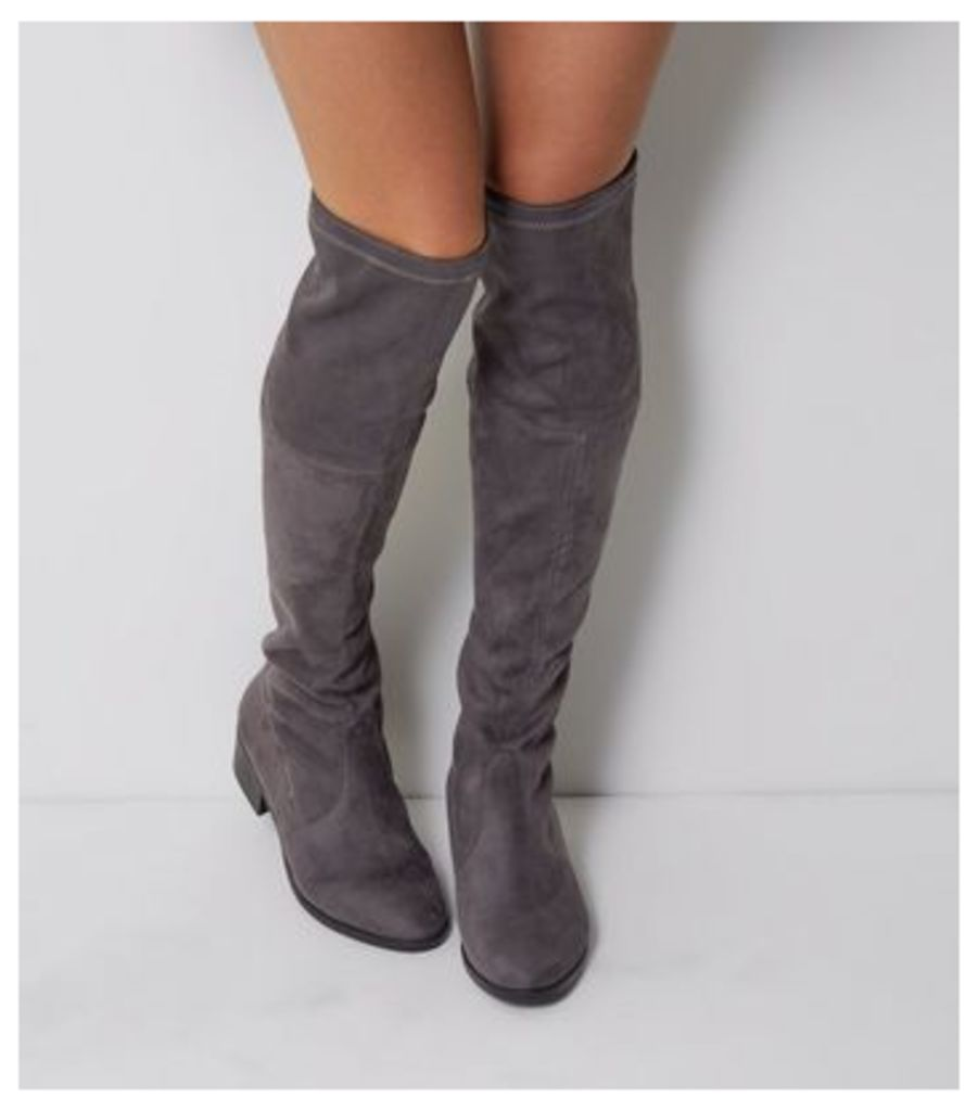 Wide Fit Grey Suedette Tie Up Over The Knee Boots